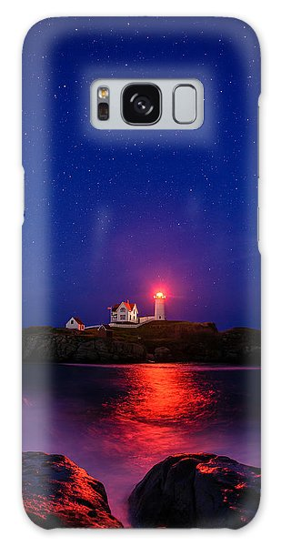 Night At Nubble Light Galaxy Case