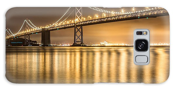 Night Descending On The Bay Bridge Galaxy Case by Suzanne Luft