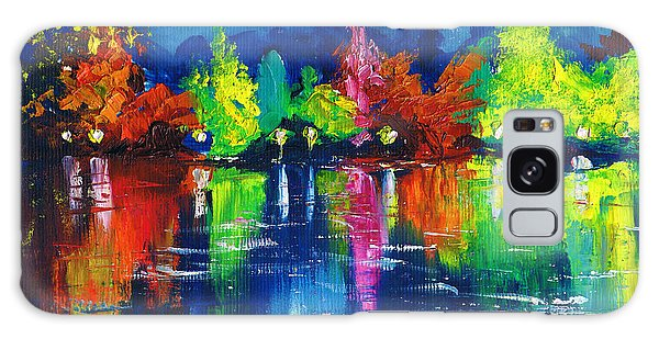 Night Park By The River Lanterns Trees Galaxy Case