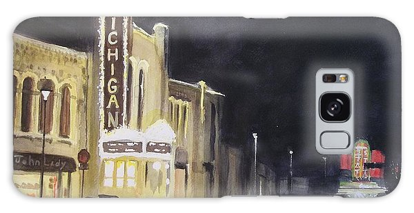 Night Time At Michigan Theater - Ann Arbor Mi Galaxy Case by Yoshiko Mishina