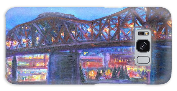 City At Night Downtown Evening Scene Original Contemporary Painting For Sale Galaxy Case