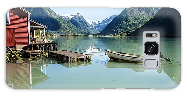 Reflection Of A Boat And A Boathouse In A Fjord In Norway Galaxy Case
