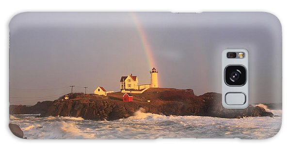 Nubble Lighthouse Rainbow And High Surf Galaxy Case by John Burk