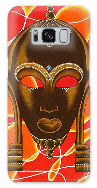 Nubian Modern Mask With Red And Orange Galaxy Case by Joseph Sonday