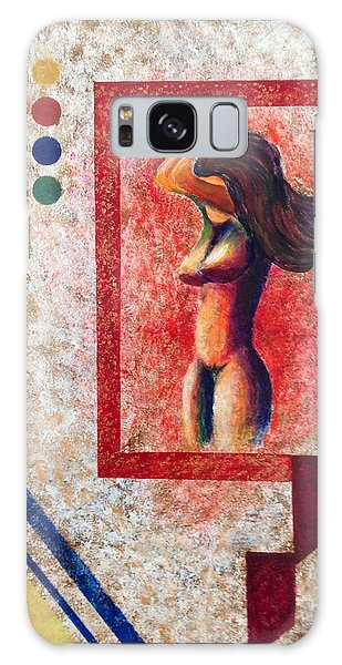Nude  Girl In Frame  Galaxy Case by Renate Voigt