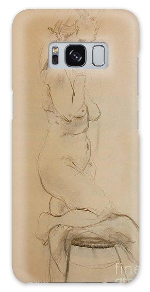 Nude Kneels On Stool Galaxy Case by Gabrielle Schertz