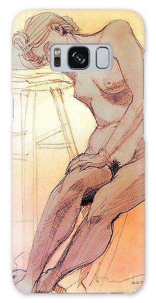 Nude Woman Leaning On A Barstool Galaxy Case