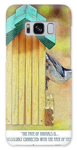 Nuthatch On Bird Feeder Galaxy Case by A Gurmankin