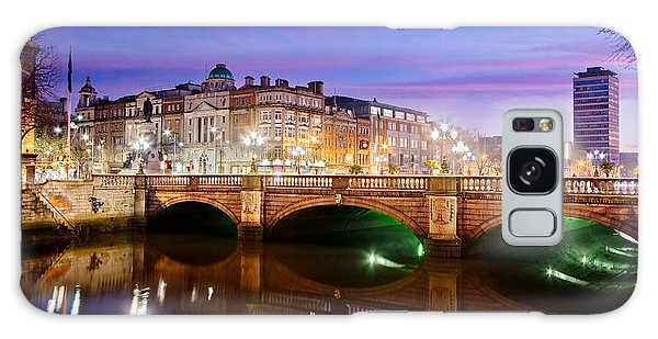 Galaxy Case featuring the photograph O Connell Bridge At Night - Dublin by Barry O Carroll