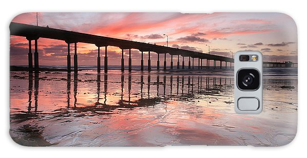 Ob Pier Reflection Sunset Galaxy Case
