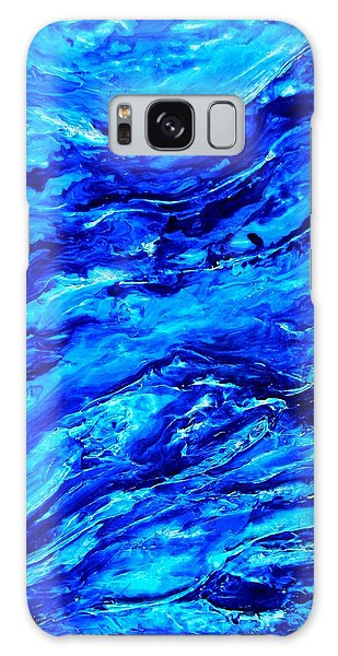 Ocean Explorer Blue Abstract Triptych Galaxy Case