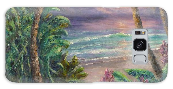 Ocean Sunrise Painting With Tropical Palm Trees  Galaxy Case