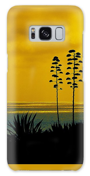 Ocean Sunset With Agave Silhouette Galaxy Case