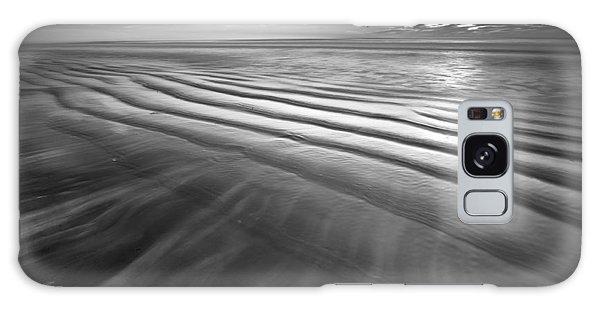 Ocean Waves Seascape Beach Sunrise Photograph In Black And White Galaxy Case