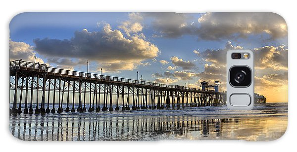 Oceanside Pier Sunset Reflection Galaxy Case by Peter Tellone