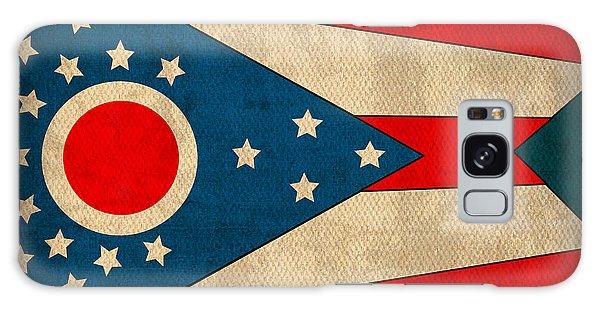Ohio State Flag Art On Worn Canvas Galaxy Case