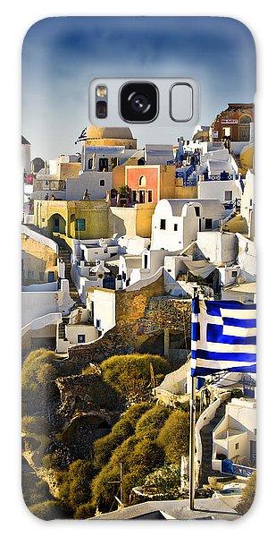 Oia And A Greek Flag Galaxy Case by Meirion Matthias