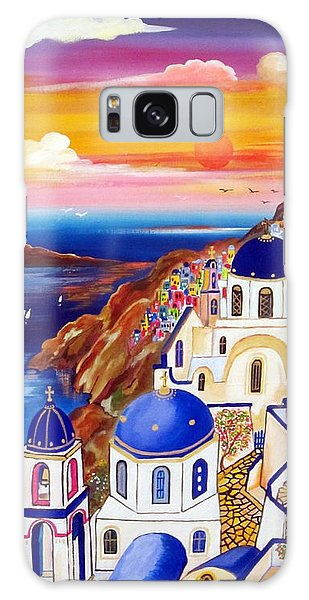 Oia Santorini Greece Galaxy Case by Roberto Gagliardi