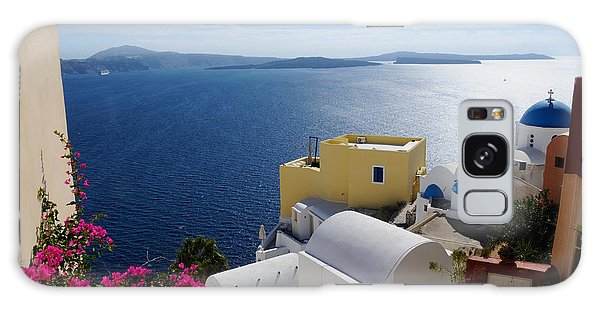Oia Village In Santorini Island  Galaxy Case by Haleh Mahbod