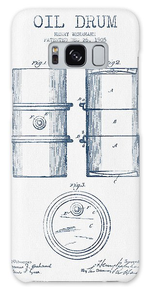 Drum Galaxy Case - Oil Drum Patent Drawing From 1905 -  Blue Ink by Aged Pixel