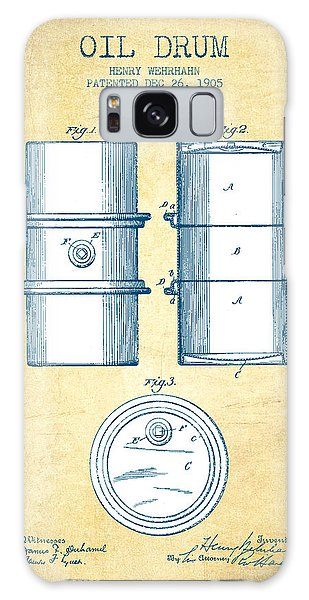 Drum Galaxy S8 Case - Oil Drum Patent Drawing From 1905 - Vintage Paper by Aged Pixel