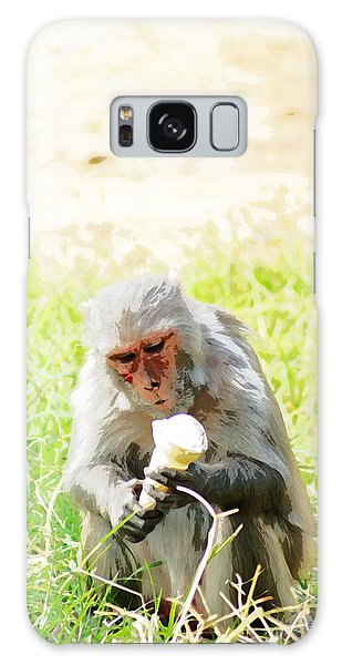 Oil Painting - A Monkey Eating An Ice Cream Galaxy Case