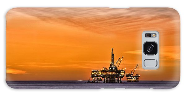 Oil Platform At Sunset  Galaxy Case