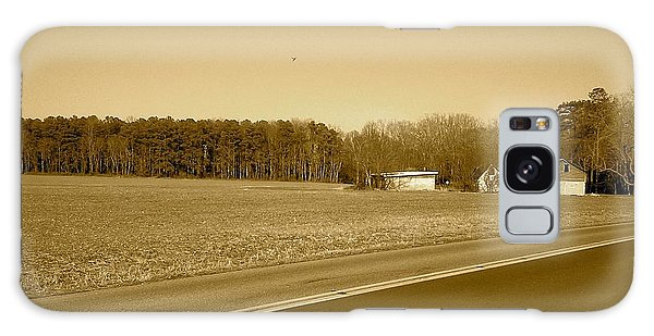 Old Barn And Farm Field In Sepia Galaxy Case by Amazing Photographs AKA Christian Wilson