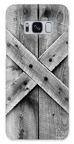 Old Barn Door In Black And White Galaxy Case