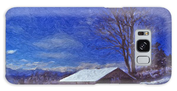 Old Barn In Winter Galaxy Case by Richard Farrington