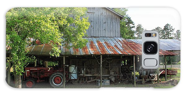 Old Barn With Red Tractor Galaxy Case by Suzanne Gaff