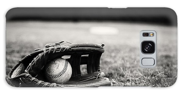 Old Baseball And Glove On Field Galaxy Case