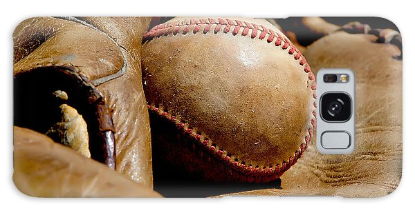 Old Baseball Ball And Gloves Galaxy Case by Art Block Collections
