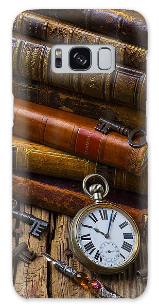 Old Books And Pocketwatch Galaxy Case
