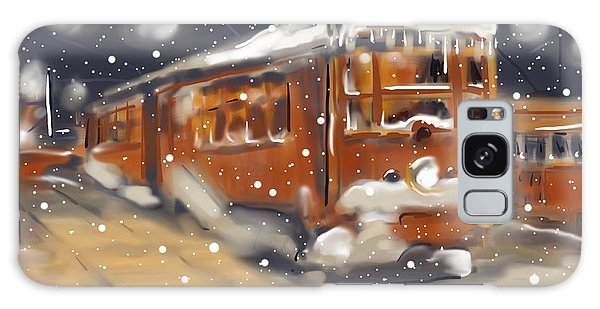 Old Boston Trolley In The Snow Galaxy Case