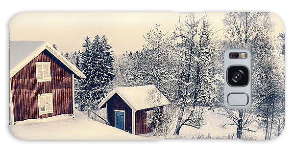 Old Cottages In A Snowy Rural Landscape Galaxy Case by Christian Lagereek