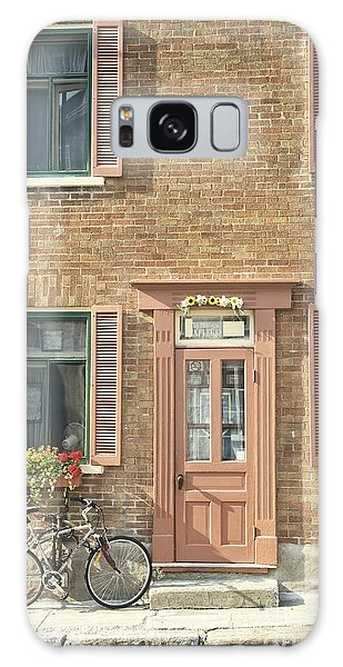 Quebec City Galaxy Case - Old Downtown Building Doorway And Bike On Street by Edward Fielding