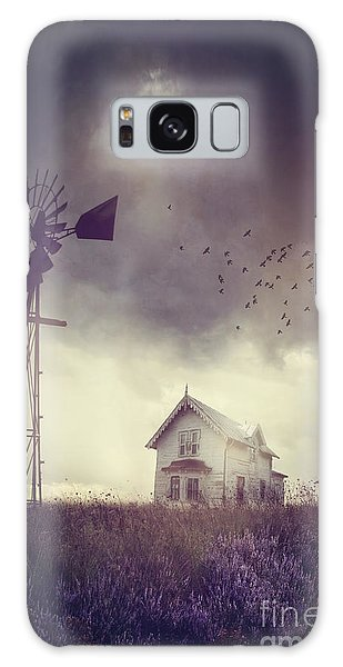 Galaxy Case featuring the photograph Old Farm House On The Prairies With Storm Approaching by Sandra Cunningham