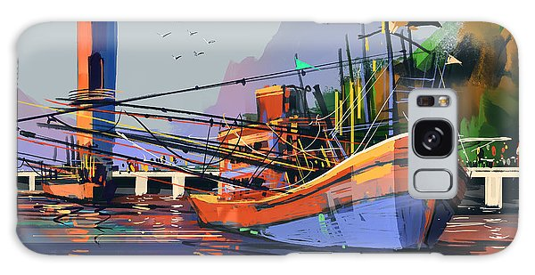 Bright Galaxy Case - Old Fishing Boat In The Harbor,digital by Tithi Luadthong