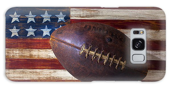 Horizontal Galaxy Case - Old Football On American Flag by Garry Gay