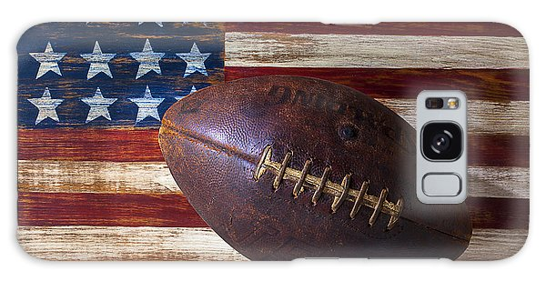 Old Football On American Flag Galaxy Case