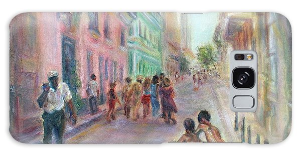 Old Havana Street Life - Sale - Large Scenic Cityscape Painting Galaxy Case