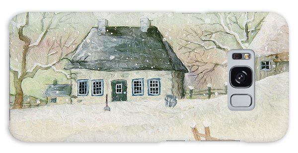 Galaxy Case featuring the photograph Old House In The Snow/ Painted Digitally by Sandra Cunningham