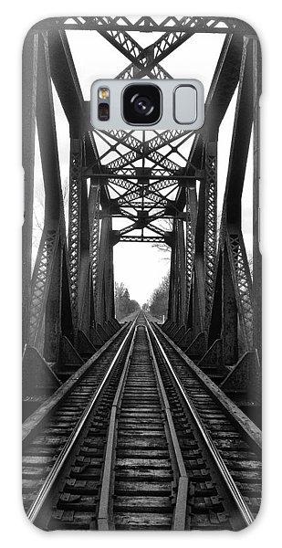 Old Huron River Rxr Bridge Black And White  Galaxy Case by Daniel Thompson