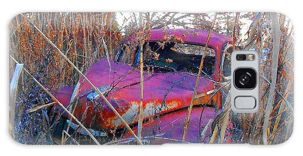 Old Pink Car In The Weeds Galaxy Case