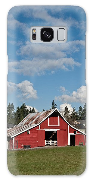Old Red Barn And Puffy Clouds Galaxy Case by Jeff Goulden