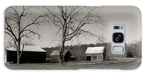 Old Red Barn In Black And White Long Galaxy Case