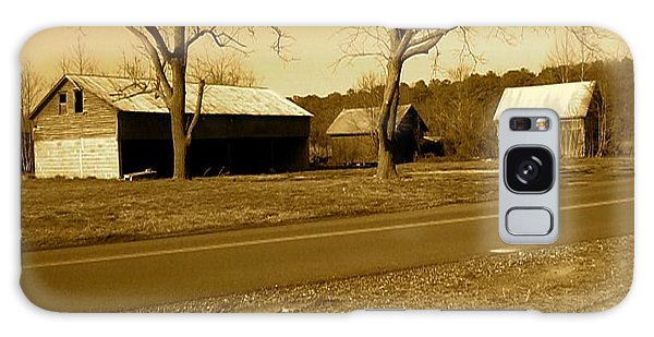 Old Red Barn In Sepia Galaxy Case by Amazing Photographs AKA Christian Wilson