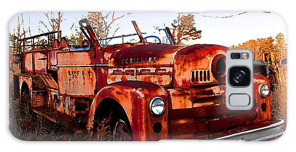 Old Red Fire Truck Galaxy Case