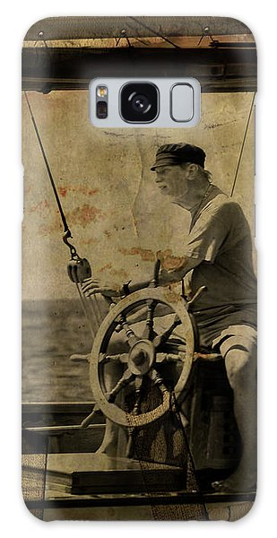 old sailor A vintage processed photo of a sailor sitted behind the rudder in Mediterranean sailing Galaxy Case